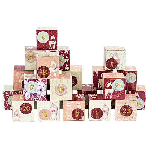 Papierdrachen DIY Advent Calendar Set - Deer Berry - 24 Printed Cardboard Boxes for Making and Filling