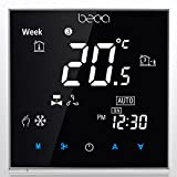 Fan Coil Thermostat,BECA 95~240VAC Two Pipe Heating/Cooling LCD Digital Touch Screen 5+2 Weekly Programmable Fan Coil/FCU/Fan Coil Unit/Central Air Conditioning/HVAC Room Thermostat Non WIFI (Black)