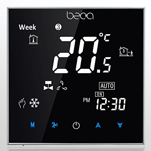 Fan Coil Thermostat,BECA 95~240VAC Four Pipe Heating/Cooling LCD Digital Touch Screen 5+2 Weekly Programmable Fan Coil/FCU/Fan Coil Unit/Central Air Conditioning/HVAC Room Thermostat Non WIFI (Black)