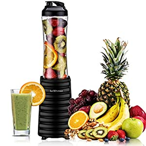 Smoothies Blender Personal Size 300 Watt with 18 oz BPA Free Portable Travel Sports Bottle (Black)