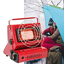portable gas butane heater or stoves dual use for outdoor camping trip keeping warm boiling water cooking dual-use canisters bbq can be warmed flipped to boil cook fan heaters picnic travels heating