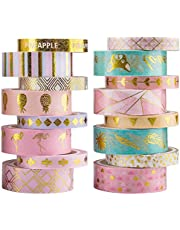 YUBBAEX 16 Rolls Washi Tape IG Style Masking Set Gold Foil Decorative for Arts, DIY Crafts, Bullet Journal Supplies, Planners, Scrapbooking, Wrapping Rainbow -Cute- (IG Set 16 Rolls)