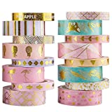 Yubbaex 16 Rolls Washi Tape Masking Set Gold Foil Decorative for Arts, DIY Crafts, Bullet Journal Supplies, Planners, Scrapbooking, Wrapping 15mm/8mm Rainbow -Cute Golden- (16 Rolls)