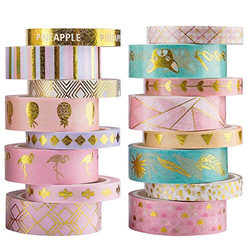 Yubbaex 16 Rolls Washi Tape IG Style Masking Set Gold Foil Decorative for Arts, DIY Crafts, Bullet Journal Supplies, Planners, Scrapbooking, Wrapping Rainbow -Cute- (VSCO x16 Rolls)