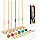 LULULION Croquet Set with Extra Large Carrying Bag - Six Players, Durable Hardwood