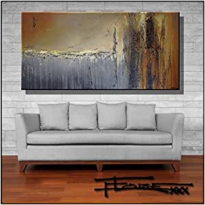 Abstract Modern Canvas Painting, Contemporary Wall Art Limited Edition - 60 x 30 x 1.5 Ready to Hang. Direct from studio ELOISExxx/ELOISE WORLD.
