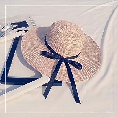 Les sports d'extérieur chapeaux femmes fashion loisirs plage pliage hat chapeau de soleil ,M (56-58cm), rose pâle - la courroie d'attache