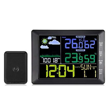 GJH Reloj Despertador LED, barómetro Humedad Interior Temperatura Exterior Digital Multifunción inalámbrica Pantalla a Color