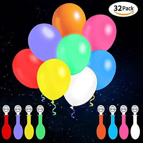 Best Buy! LED Balloons, 32 Pack, Non-Flashing 8 Colors Light Up Balloons, Lasts 12-24 Hours for Glow...