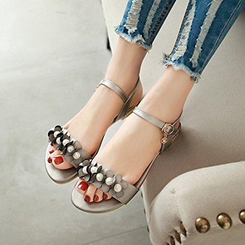 YE Damen Flache Sandalen mit Knöchelriemchen und Blumen Perlen Schnalle Bequem Sommer Schuhe Grau