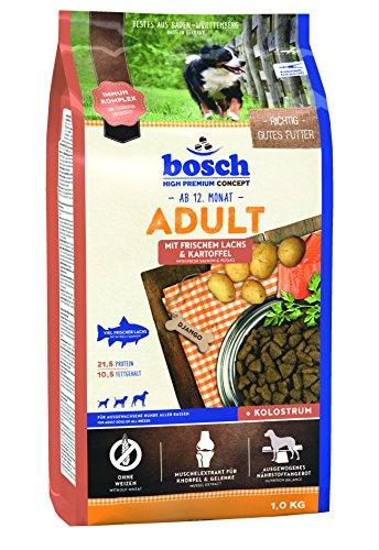 bosch HPC Adult | con Salmón fresco y Patata | Comida seca para perros adultos de todas las razas | 1 kg