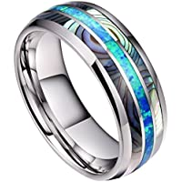 DOUX 8mm Mens Tungsten Carbide Ring Real Blue Opal & Koa Wood/Abalone Shell Inlay Wedding Band High Polished Comfor Fit Size 6-14