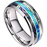 DOUX 8mm Mens Tungsten Carbide Ring Real Blue Opal & Abalone Shell Inlay Wedding Band High Polished 10