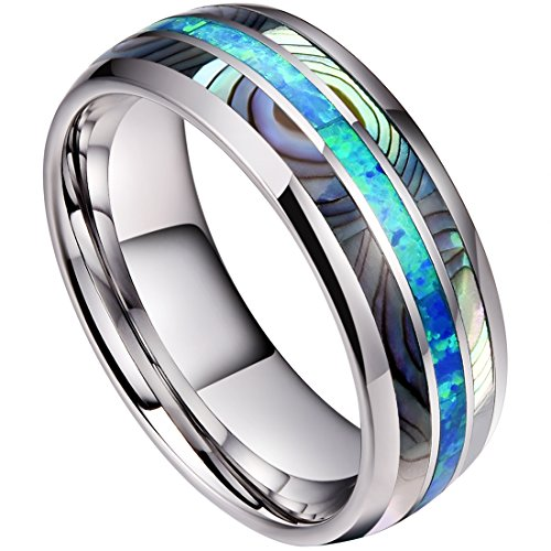 (DOUX 8mm Mens Tungsten Carbide Ring Real Blue Opal & Abalone Shell Inlay Wedding Band High Polished 12)