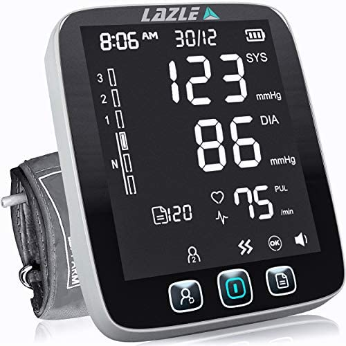 2021 LAZLE Blood Pressure Monitor – Automatic Upper Arm Machine & Accurate Adjustable Digital BP Cuff Kit – Largest Backlit Display – 200 Sets Memory, Includes Batteries, Carrying Case