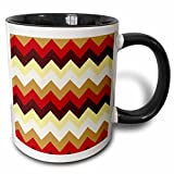 3dRose 777images Designs Patterns - Colorful chevron pattern in bright fall colors. Native American look - 11oz Two-Tone Black Mug (mug_165750_4)