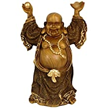 Oriental Furniture Great Gift Idea for Him Guy Man Husband Dad, 12-Inch Large Japanese Prosperity Buddha Statue in Faux Bronze Finish