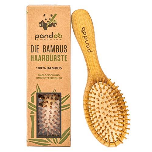 pandoo Bambus Haarbürste mit Naturborsten – Vegan, umweltfreundlich – Natur-Bürste mit Bambusborsten für natürlich schöne Haare für Männer, Frauen & Kinder – Detangler