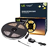 LE 12V 16.4ft Flexible LED Light Strip, LED Tape, 3000K Warm White, 300 Units SMD 2835 LED, LED Ribbon, Non Waterproof, For Home/Kitchen/Car/Bar, Power Adapter Included