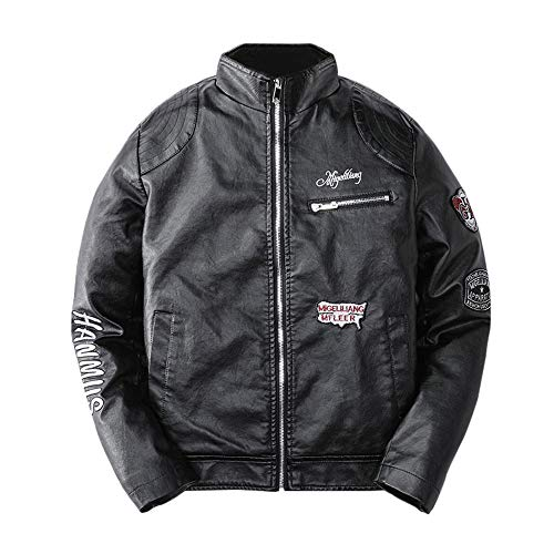 Clearance Sale for Coat.AIMTOPPY Men's Casual Long Sleeve Letter Embroidered Stand Collar Leather Jacket (Ducks Embroidered Leather)
