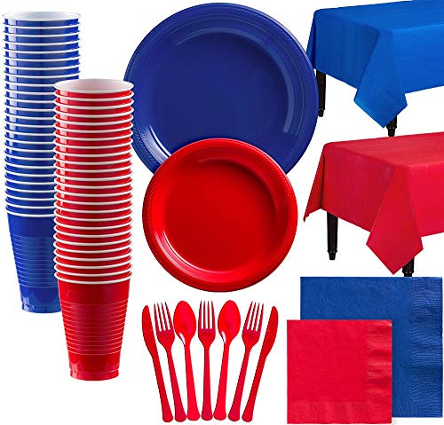 Party City Red and Royal Blue Plastic Tableware Kit for 100 Guests, 852 Pieces, Includes Plates, Napkins, and Utensils]()