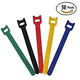 #6: Attmu 50 PCS Reusable Fastening Cable Ties, Microfiber Cloth 6-Inch Hook and Loop Cord Ties, Multicolor