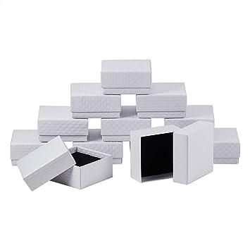 NBEADS 12Pcs Cajas de cartón Caja Caja de joyería Cuadrada con Terciopelo Interior para Paquete de
