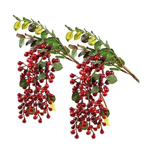 Rinlong Artificial Berries Fake Red Holly Berries Stems Hanging Spray Fall Floral Picks for Auntumn Fall Wreath Thanksgiving Christmas Festival Home Kitchen Party Farmhouse Decoration