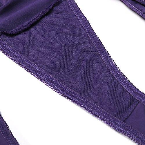 Ekouaer - Tanga para mujer sin costuras, 3unidades, varios colores Black/Purple/Light Purple(3 Pack)