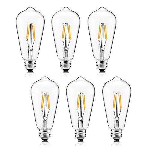 Scope 4 Light Pendant - XPLight 4W LED Edison Bulb,40W Incandescent Equivalent 400LM Warm White 2700K,E26 Medium Base, ST64 Vintage LED Filament Bulbs,Non-dimmable, Pack of 6