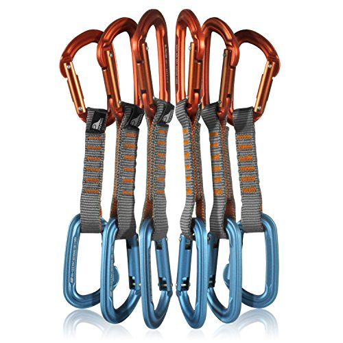 Fusion Climb 6-Pack 11cm Quickdraw Set with Contigua Orange Straight Gate Carabiner/Contigua Blue Straight Gate Carabiner by Fusion Climb