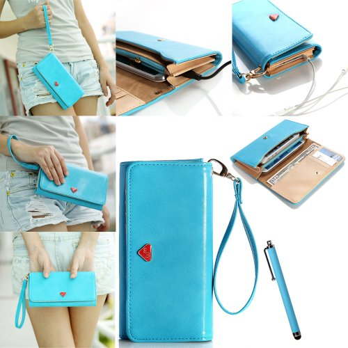 ATC Masione(TM) Multifunctional Coin Purse Wrist Bag Handbag Envelope Wallet Pouch Case for iphone 4 4S 5 Samsung Galaxy S4 S3 N7100 HTC ONE M7 Smart Phone with free Stylus Pen (Blue), Best Gadgets