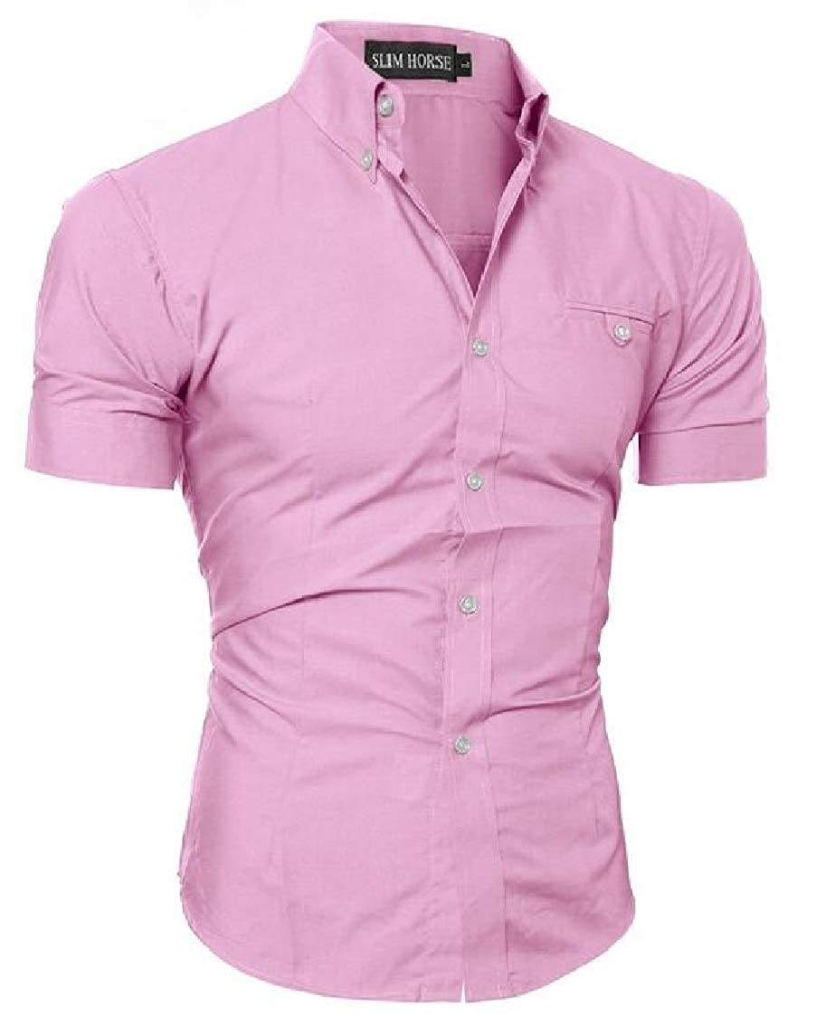 Nanquan Men Slim Fit Big /& Tall Button Down Short Sleeve Solid Color Shirts
