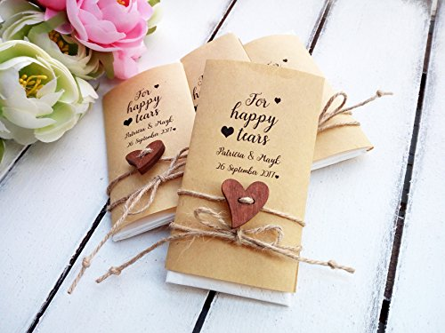 Happy tears wedding favors, 30 pieces Tears of joy packs, Personalized, wedding, ceremony, tissue, Rustic, decor, Custom, favors, handkerchief, hankerchief, -