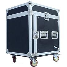 Seismic Audio-SAMRC-10U-10 Space Rack Case with Slant Mixer Top and Casters-PA/DJ Pro Audio Road Case