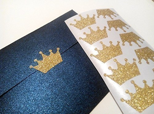 20 Glitter Crown Stickers Princess Party Décor Envelope Seals Wedding Invitations Birthday Gold or Silver Vinyl Craft DIY Small 1.5'' wide for $<!--$5.00-->