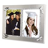 Brushed Metal Silkscreen Wording Double Photo Frame - Engravable Graduation Gift