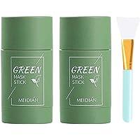 2 stks Groene Thee Zuiverende Klei Gezichtsmasker Stok Diepe Reinigende Olie Controle Anti-Acne Stevig Masker met 1 stks…