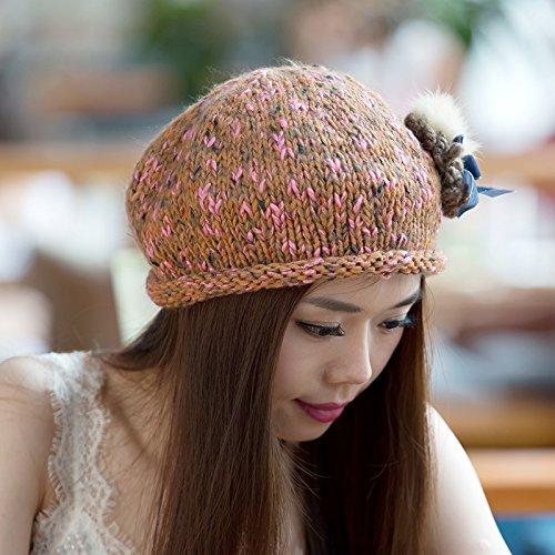 Gorra Lana de Flores Libre otoño versión Invierno al Punto Maozi la Aire Boina 3 a 3 Volumen Grueso Junto Coreana para Fox del R4qwdHx