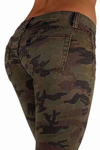5027X -VIP - Women's Plus Size Classic 5 Pockets Camouflage Stretch Skinny Jeans Size 14
