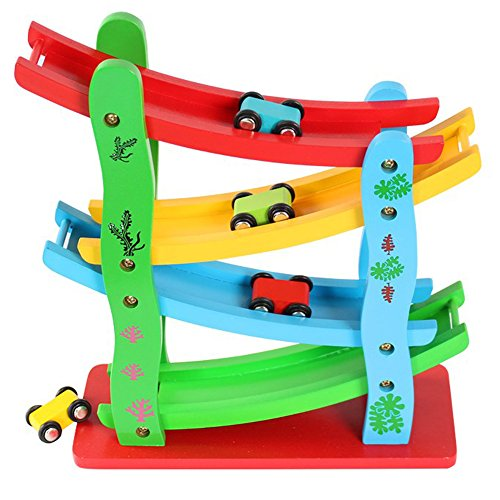 Mini Motor Racing Track with 4 Cars Wooden Ramp Race Track with Small Car Toys Car Sliding Track Children Kids Toy