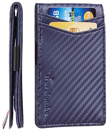 Mens Leather Money Clip Wallet - Travelambo Mens RFID Blocking Front Pocket Minimalist Slim Genuine Leather Wallet Pull Tab Money Clip (Carbon Fiber Texture Navy Blue)
