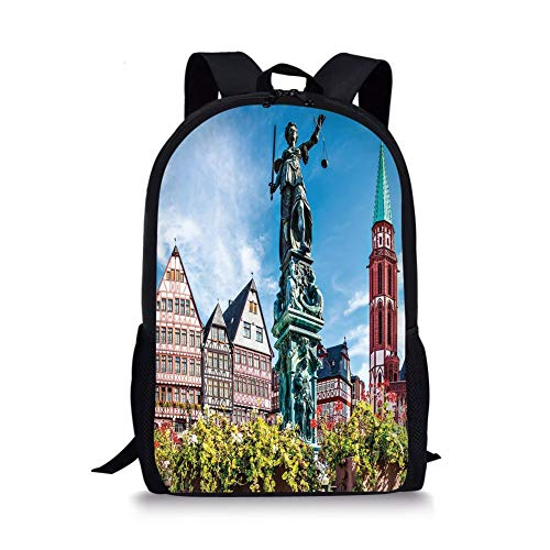 School Bags European,Old City of Frankfurt Germany with Historical Buildings Statue Cityscape Scenery Decorative,Multicolor for Boys&Girls Mens Sport Daypack]()