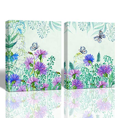 A Cup of Tea Flower Wall Art Butterfly Picture Print on Canvas Watercolor Artwork for Home Bedroom Wall Decor Frame Ready to Hang 12x16 Inch 2Pcs