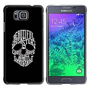 MobileHut / Samsung GALAXY ALPHA G850 / Beautiful Sinner Saint Duality Skull / Delgado Negro Plástico caso cubierta Shell Armor Funda Case Cover