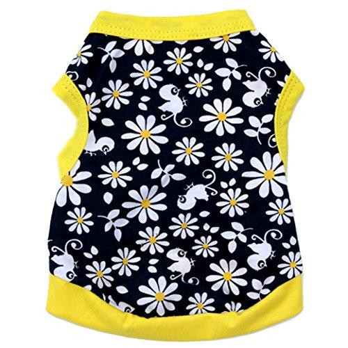 Napoo Cute Flowers Birds Print Cotton Jersey Vest Pet Clothing (Yellow, - Cotton Sweatshirt Bird