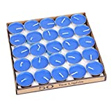 50 Pack Tea lights Candles - Unscented - Smokeless - 2 Hour Burn Time - Decoration for Wedding, Party, Dating and Festival Celebration (Blue)