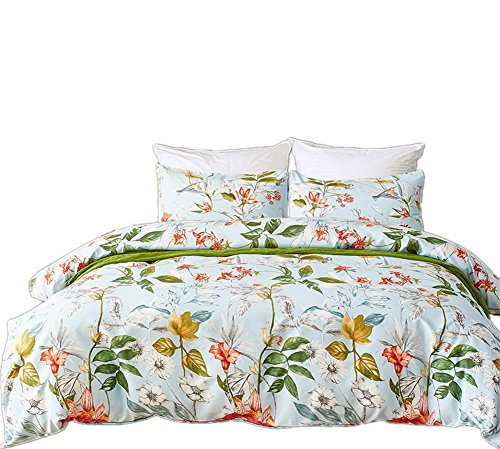 Fire Kirin King Duvet Cover Set with Zipper Closure 3Pcs (1 Duvet Cover + 2 Pillowcases) Lightweight Microfiber Duvet Cover Set, Floral Pattern Design White