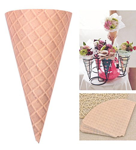 Self-Adhesive Flower Packaging Paper Bouquet Wrapper Candy Food Paper Cones from Ocharzy (20 pcs, Brown)