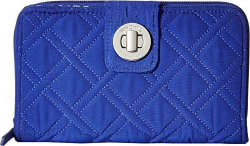 Vera Bradley RFID Turnlock Wallet, Microfiber, gage Blue ()